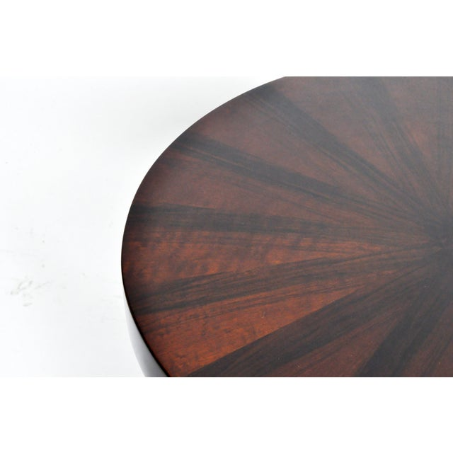 Veneer Round Side Table with Shelf- A Pair For Sale - Image 7 of 11