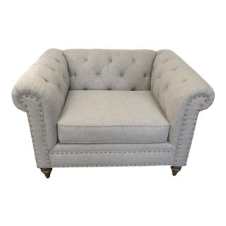 Transitional Dove Gray Chesterfield Chair For Sale