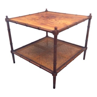 Vintage Baker Furniture Faux Bamboo, Burl Wood & Cane End Table/Coffee Table For Sale