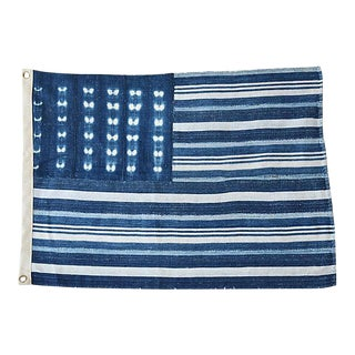 "26"" X 19"" Custom Tailored Blue & White Flag From African Textiles"
