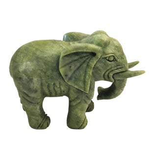"Soap Stone Jade Color Sculpture of an Elephant 5.5"" H For Sale"