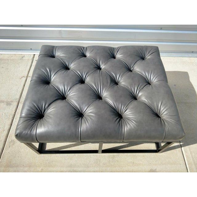 Animal Skin Modern Gambrell Renard West End Leather Ottoman For Sale - Image 7 of 10