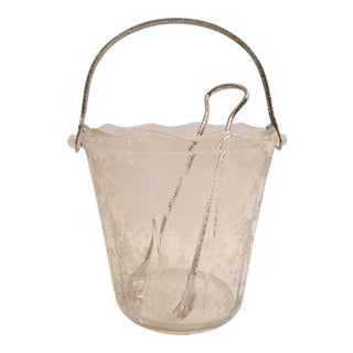 Vintage Cambridge Rose Point Ice Bucket With Tongs For Sale