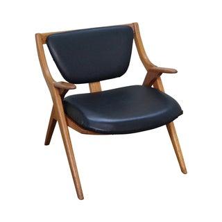 Mid-Century Modern Teak Sawbuck Lounge Chair