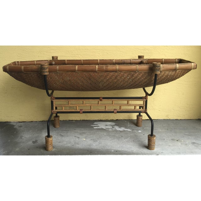 Vintage Pacific Style Rattan Console - Image 5 of 11