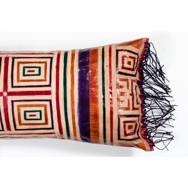 Early 21st Century Moroccan Leather Bolster Pillow For Sale - Image 5 of 6
