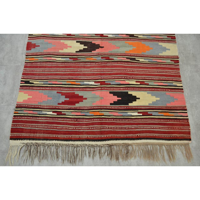 Red Antique Turkish Kilim Hand Woven Wool Large Runner Rug - 6′5″ × 13′8″ For Sale - Image 8 of 10