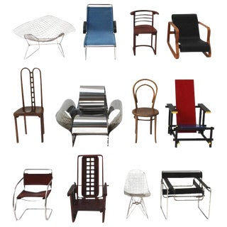 Collection of 12 Vitra Miniature Chairs For Sale