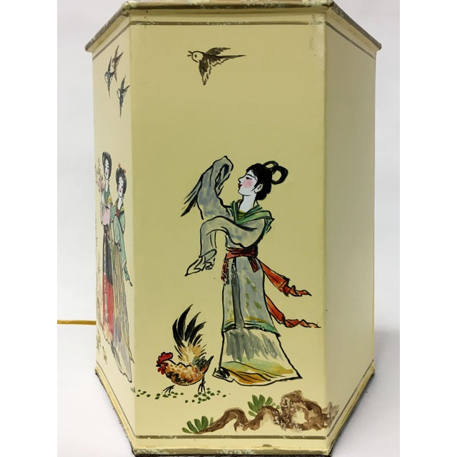 English Export Hexagon Chinoiserie Tea Canister Lamp For Sale - Image 4 of 5