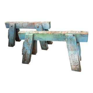 Early 20th Century Industrial Sawhorses in Blue Paint- A Pair For Sale