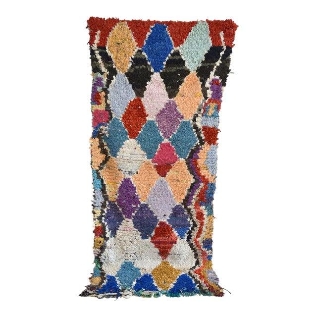1970s Vintage Boucherouite Moroccan Wool Rug - 2′10″ × 6′8″ For Sale