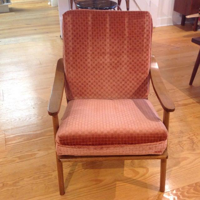 Vintage Mid-Century Oak & Burnt Orange Arm Chair - Image 5 of 9