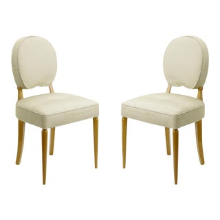 Jean Pascaud Pair of Sycamore Lady Vanity Side Chairs For Sale