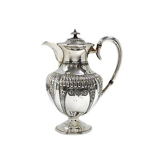 Antique English Victorian Silver-Plate Coffee Pot For Sale