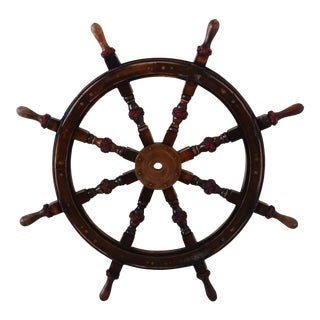Vintage Nautical Maritime Ship's Steering Wheel For Sale