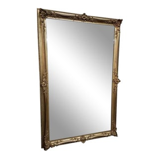 "Large Gilt Framed & Beveled Edged Mirror. 70 "" High X 46 "" Wide For Sale"