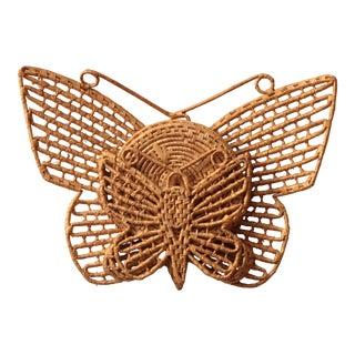 Wicker Butterfly Trivet Set with Holder