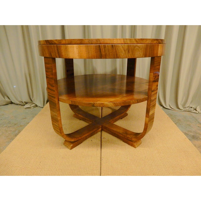 Classic Art Deco walnut 1930's side table from Northern Europe. This type table blends easily in any Decor. Works well...