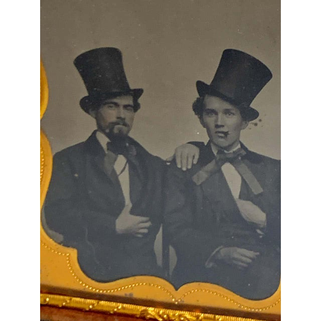 American Daguerreotype Portrait of Two Men Embracing, Smoking With Ties and Top Hats For Sale - Image 3 of 11