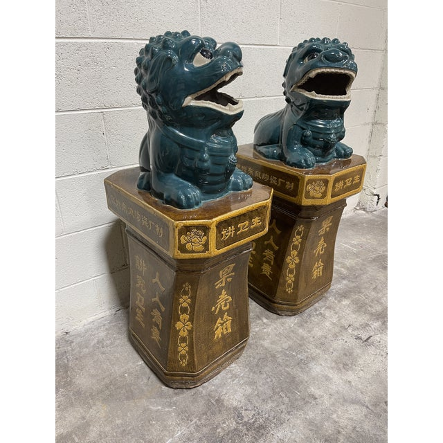 Asian Monumental Glazed Terracotta Foo Dogs - a Pair For Sale - Image 3 of 13