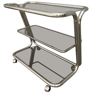 Three-Tiered Brass Bar Cart For Sale