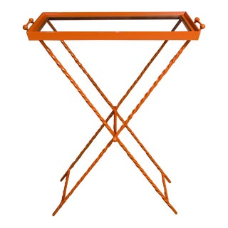 1960s Orange Butler's Tray Table For Sale