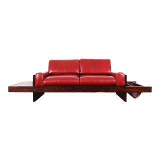 Brazilian Rosewood & Leather Sofa Attributed to Celina Moveis For Sale