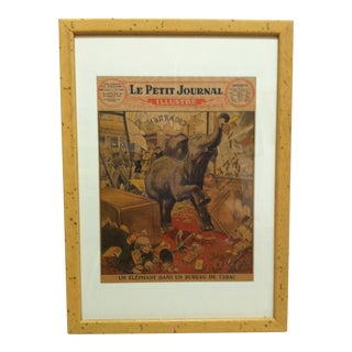 "1929 Vintage French ""Un Elephant"" Print, Framed For Sale"