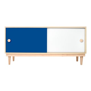 Nico & Yeye Luke Modern Kids Credenza Console Solid Maple and Maple Veneers Pacific Blue For Sale