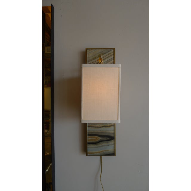 Metal Modern Brass and Marbleized Wall Sconce V1 by Paul Marra For Sale - Image 7 of 8