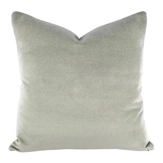Brunschwig & Fils Autun Mohair Velvet Light Gray Pillow Cover For Sale