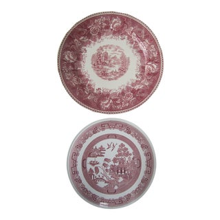 Arabia Red Transferware Serving Pieces-2 Pieces For Sale