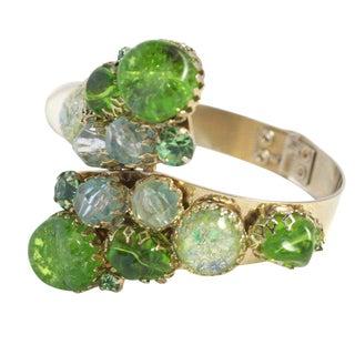 Green Stone Hinged Bracelet For Sale