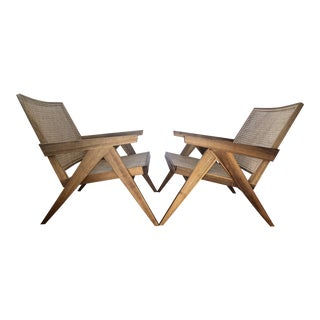Pierre Jeanneret Style Lounge Chairs - Pair For Sale