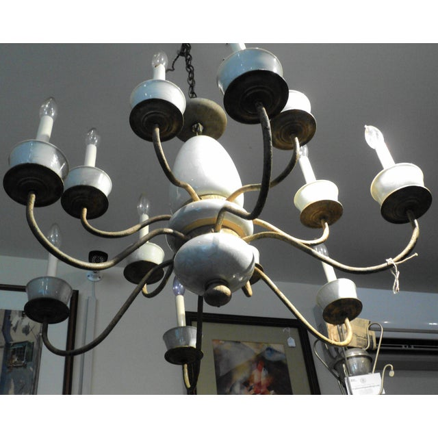 Antique Metal & Ceramic Chandelier - Image 5 of 11
