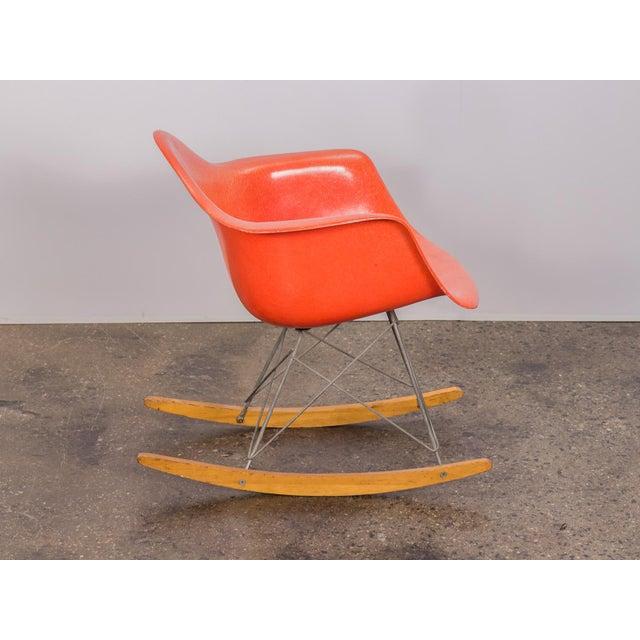 Herman Miller Eames Orange Armchair on Rocker Base For Sale - Image 4 of 11