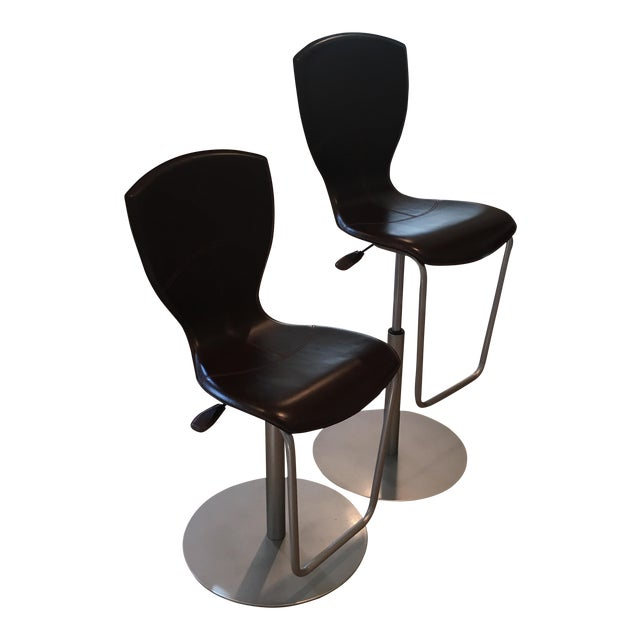 Brown Leather Adjustable Stools - a Pair - Image 1 of 11