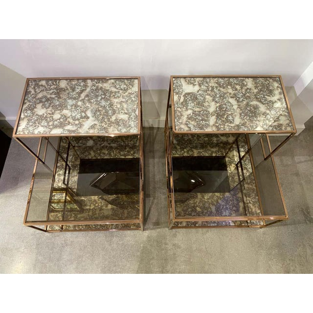 Milo Baughman Style Italian Side or Night Tables - a Pair For Sale - Image 9 of 13