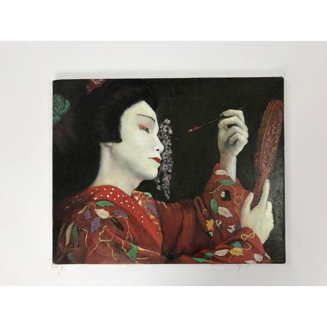 Geisha Applying Make-up Original Oil Painting - Image 3 of 8