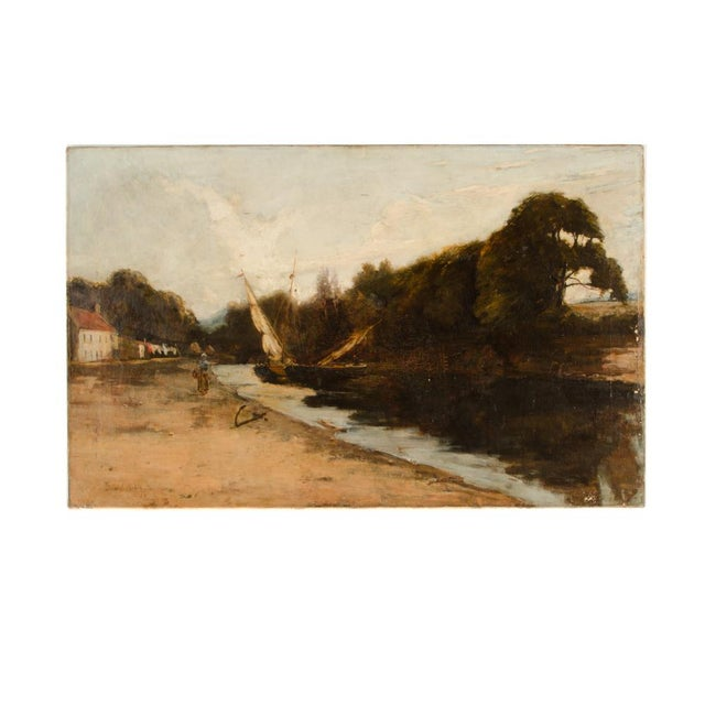 "Late 19th Century ""On the Canal"" Coastal Oil Painting For Sale - Image 13 of 13"