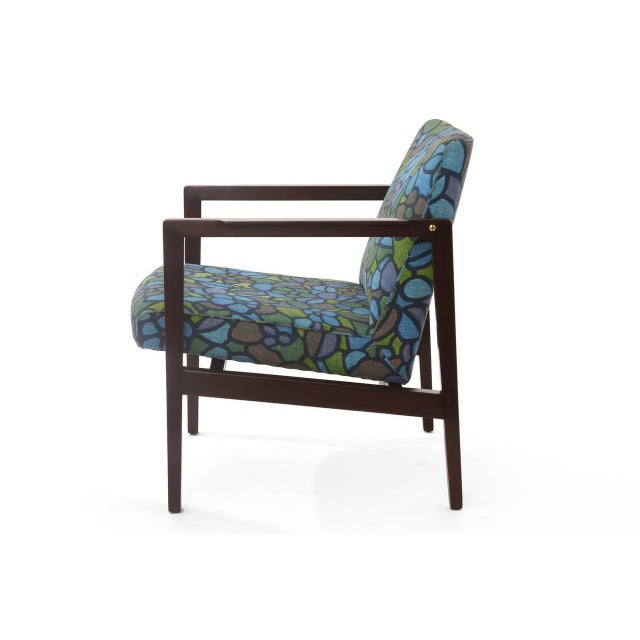 Edward Wormley for Dunbar mahogany brass and upholstered armchair, circa late 1950s. The beauty of this chair is the...