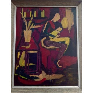"""1968 Original """"Mother and Child"""" Oil Painting Signed Joan Brown For Sale"""