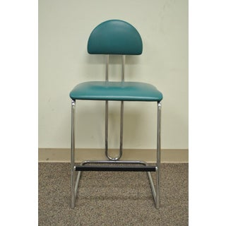Vintage Loewenstein Modern Memphis Style Blue Chrome Counter Bar Stool Chair Preview