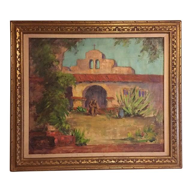 Large Vintage Mission Oil Painting on Silk Faille - Image 1 of 9