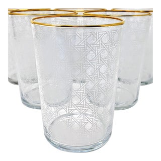 Set of Four Drinking Glassware Set With White Cane and Gold Rim Motif For Sale