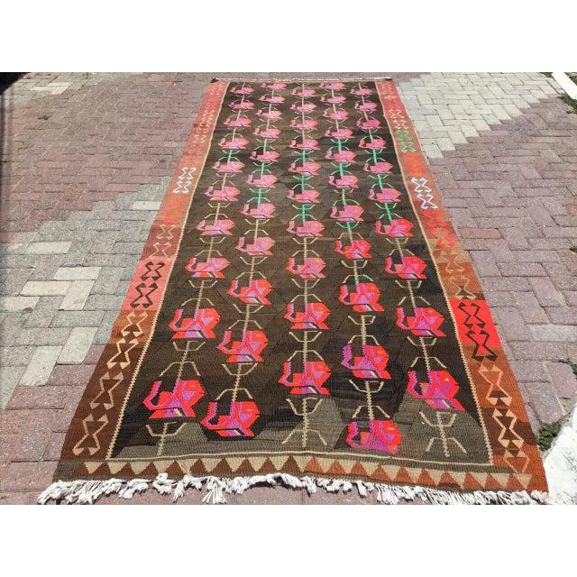 Vintage Floral Kilim Rug For Sale - Image 11 of 11