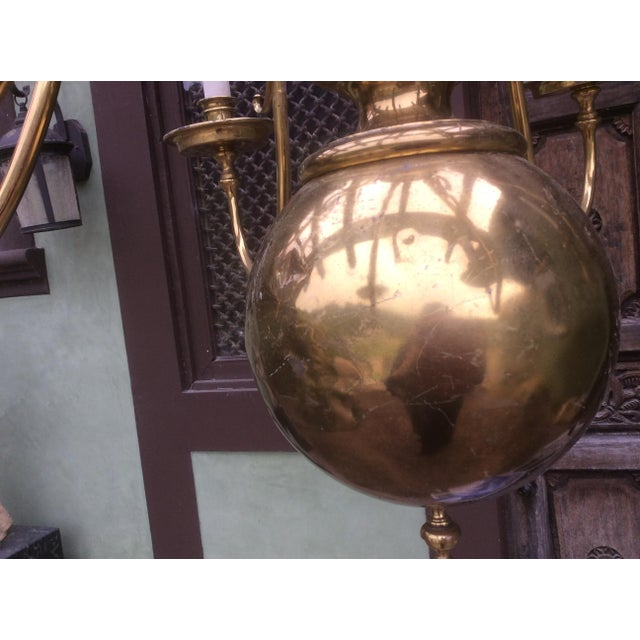 Mid 20th Century Large Dutch Style Brass Chandelier For Sale - Image 5 of 11