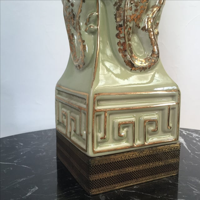 Chinoiserie Lamp With Dragon + Greek Key Detail - Image 3 of 5