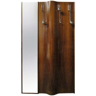 Italian Wall-Mounted Coat Rack With Mirror For Sale