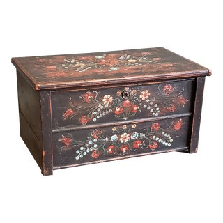 19th Century Antique Hungarian Painted Blanket Chest For Sale